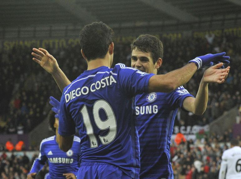 Diego Costa and Oscar Chelsea against Swansea