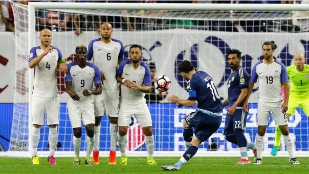 Argentina vs USA Messi free kick