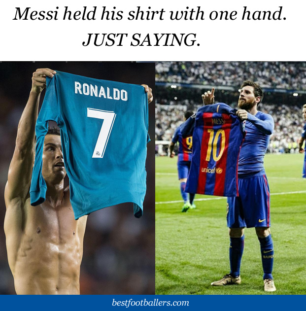 Messi & Ronaldo holding their shirts